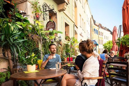 An verschiedenen Tischen sitzen Leute und reden, an der Wand hängen viele Pflanzen