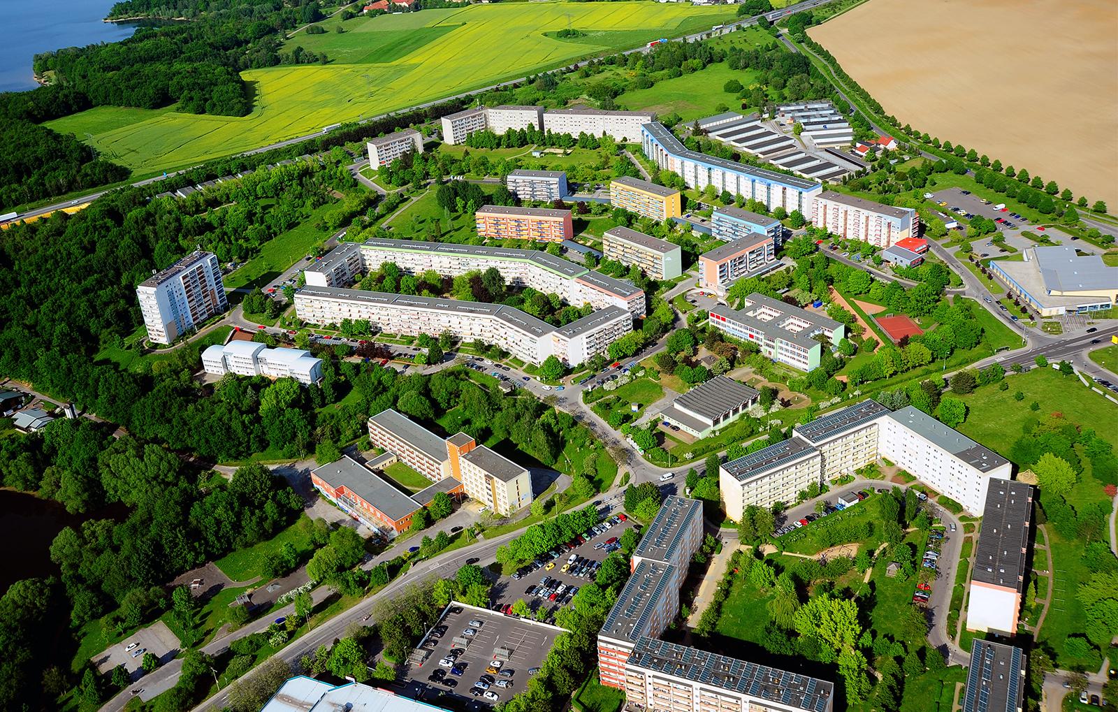 Luftbildaufnahme vom Stadtteil Gesundbrunnen