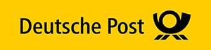 Schwarzer Schriftzug Deutsche Post auf gelbem Untergrund